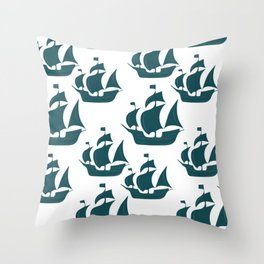 Tall Ship Justice in Teal Throw Pillow