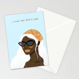 Shades, Lip Gloss & Bandana - illustrated cool girl Stationery Cards