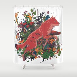 dream of red wolf Shower Curtain