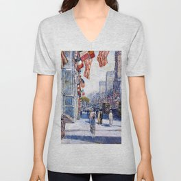 Frederick Childe Hassam - Early Morning On The Avenue In May - Digital Remastered Edition Unisex V-Neck