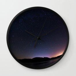 Stars Adorn Lake Wall Clock