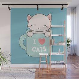 Kawaii Cute I Love Cats Wall Mural