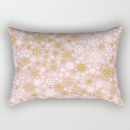 A Thousand Snowflakes in Rose Gold Rectangular Pillow