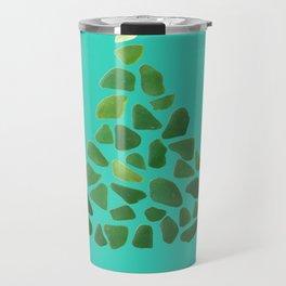 Green Sea Glass Tree on Turquoise #seaglass #Christmas Travel Mug