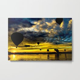 Aerostatic balloons at sunrise, over the lake. Metal Print