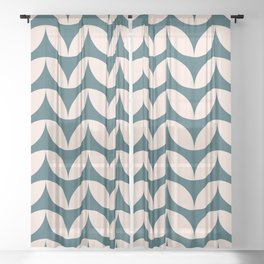 Geometric Leaf Shapes in Teal and Blush Sheer Curtain