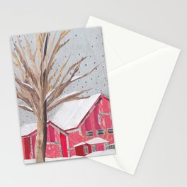 Farm in Winter Stationery Cards