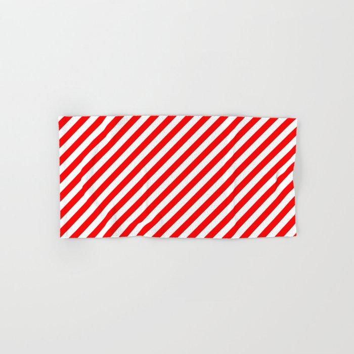 Diagonal Stripes (Red/White) Hand & Bath Towel