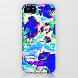 Cascading flowers ocean view abstract iPhone Case