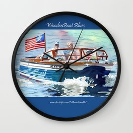 Wooden Boat Blues Wall Clock