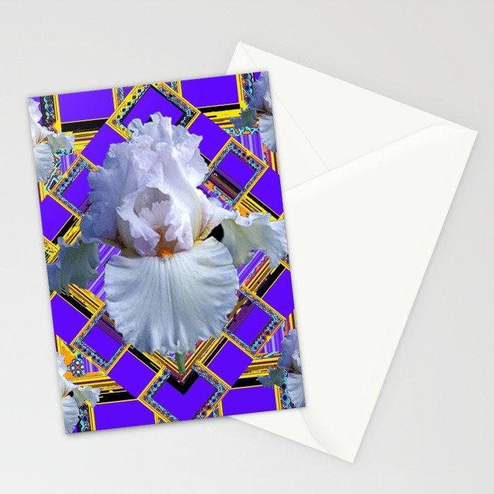 ART DECO WHITE IRIS PURPLE ART Stationery Cards
