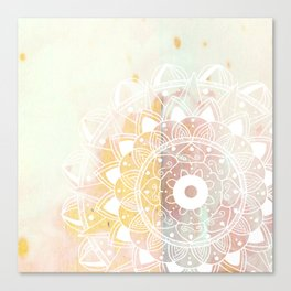 Delicate white mandala on pink Canvas Print