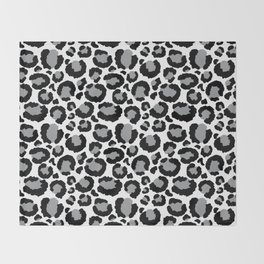 White Black & Light Gray Leopard Print Throw Blanket