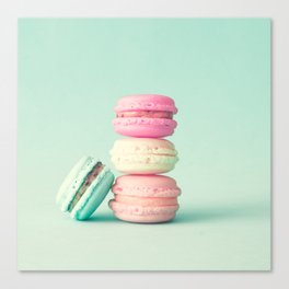 Tower of macarons, macaroons over green mint Canvas Print