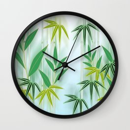 Lucky Bamboo Leaves Wall Clock