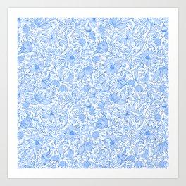 Bells Flower - BUTTERFLIES - CAMPANULA BLUE Art Print