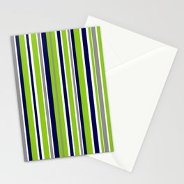 Lime Green Bright Navy Blue Gray and White Vertical Stripes Pattern Stationery Cards