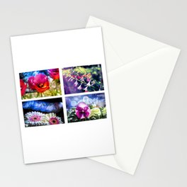 Grid of four pink and red flowers Stationery Cards