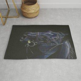 Black Horse Portrait Rug