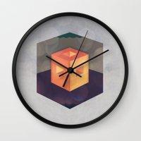 pixel Wall Clocks featuring Pixel by Camilo Bejarano