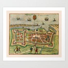 Map Of Calais 1649 Art Print