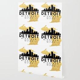DETROIT MICHIGAN SILHOUETTE SKYLINE MAP ART Wallpaper