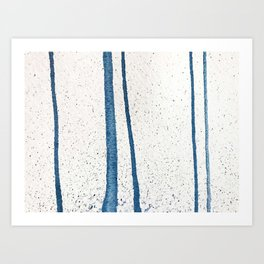 Parallel Universe [vertical]: a pretty, minimal, abstract piece in lines of vibrant blue and white Art Print