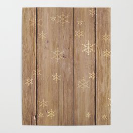 Snowflakes Pattern on Wood 02 Poster