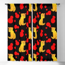 Little bears. Cute playful funny pink baby bear cubs, pretty bold blue retro dots seamless pattern Blackout Curtain