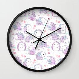 Spring Hedgehog Pattern Wall Clock
