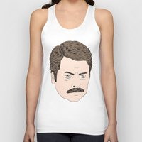swanson Tank Tops featuring Ron Swanson by Chase Kunz