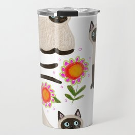 Siamese Cats and flowers Travel Mug
