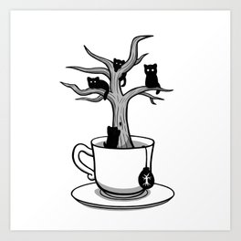 Bare tree with cats growing inside a cup of tea Art Print