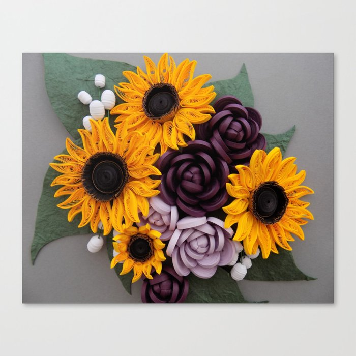 Sunflowers roses paper quilled flowers canvas print by sunflowers roses paper quilled flowers canvas print mightylinksfo