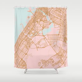 Dubai map, United Arab Emirates Shower Curtain
