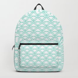SPEARMINT pale mint green art deco pattern on white background Backpack