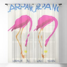 Vintage Carpano Pink Flamingo Motif Vermouth Advertisement Poster Sheer Curtain