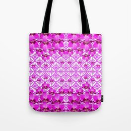 ABSTRACT PATTERNED PURPLE ART DECO  ORCHIDS Tote Bag