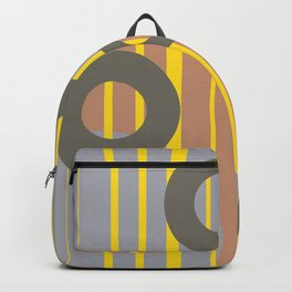 Rings and Lines in Yellow grey orange Colors Backpack