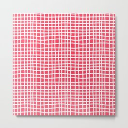 sun kissed coral random cross hatch lines checker pattern Metal Print