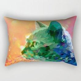 Rainbow-Colored Bejeweled Cat Rectangular Pillow