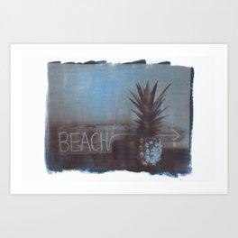 pineapple beach Art Print