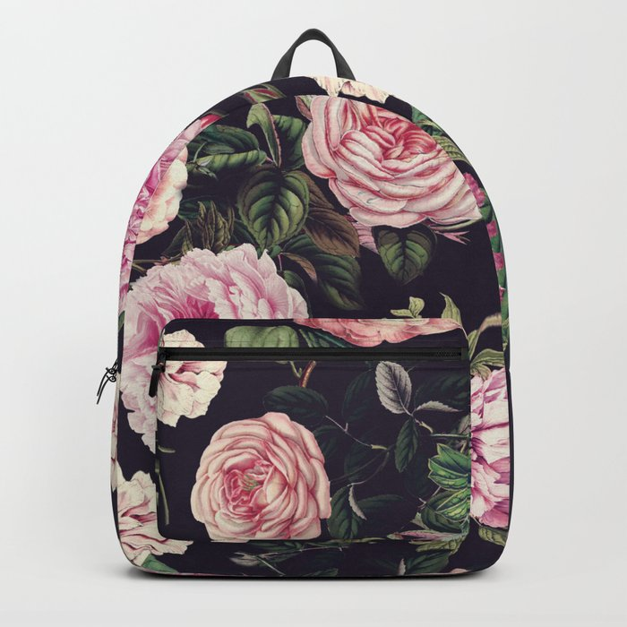 Dark Floral Pattern Backpack