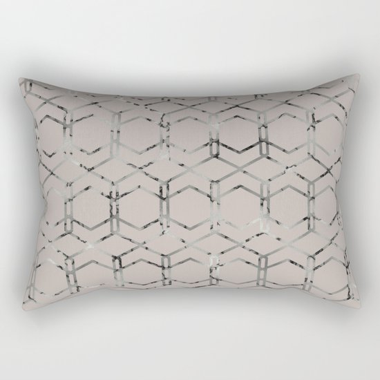Silver Geometric Art Deco - Gatsby Taupe Rectangular Pillow