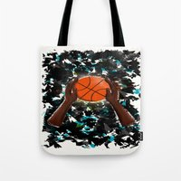 basketball Tote Bags featuring  BasketBall  by imrvphoto