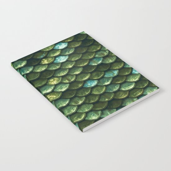 Aqua and green sparkling mermaid glitter scales- Mermaidscales Notebook