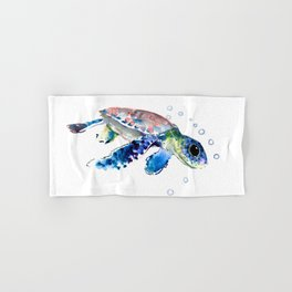Sea Turtle Illustration Hand & Bath Towel