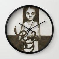 snake Wall Clocks featuring snake by Ruben Ireland