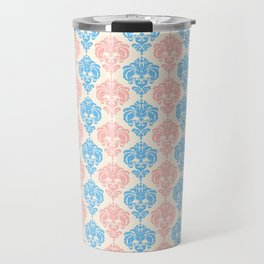 Vintage chic ivory coral blue floral damask pattern Travel Mug