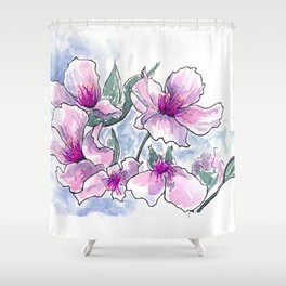 Cherry Blossom Ink and Watercolor Shower Curtain